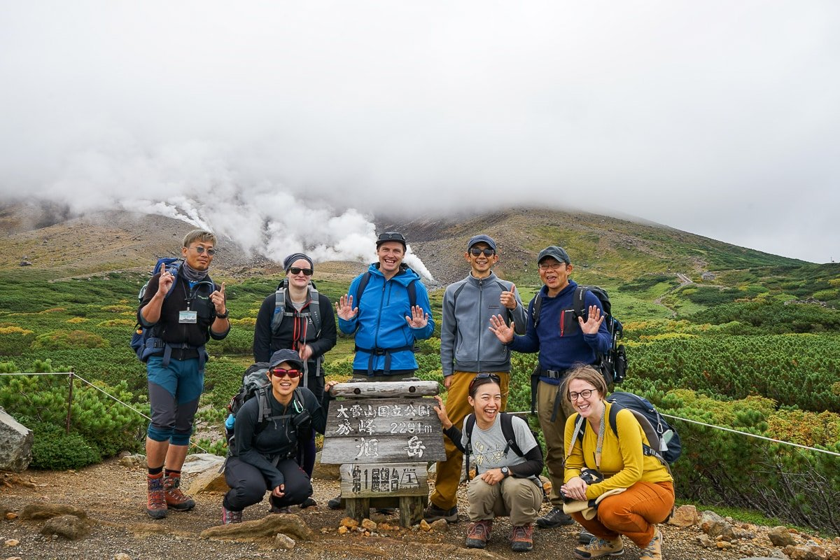 Adventure Hokkaido Hiking Group gathering at the First Lookout