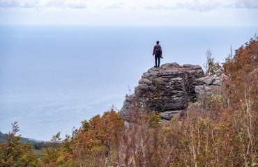 Taking in the ocean view from the cliffs on Mt Shioya-Maruyama