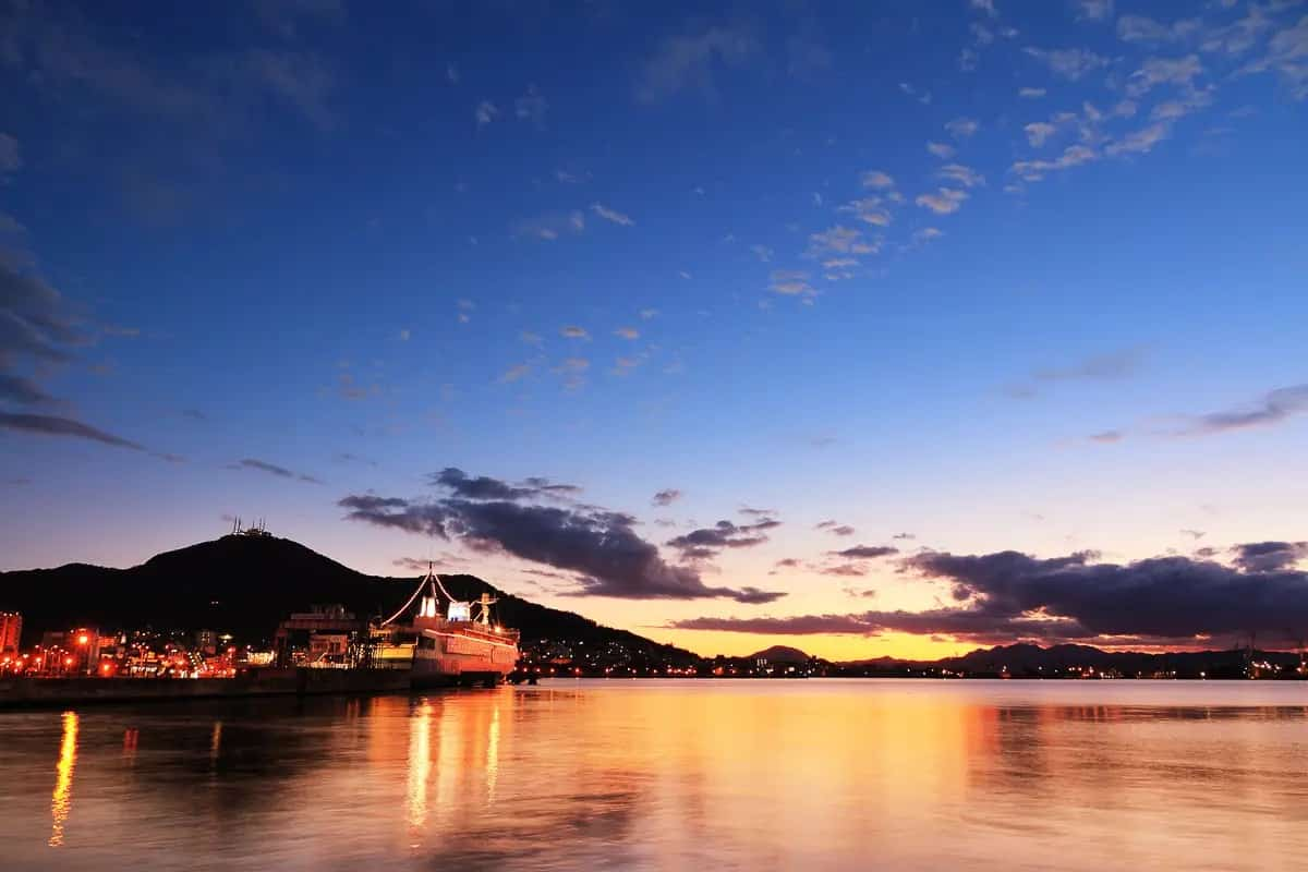 Ferry in Hakodate Port in Hokkaido at Sunset - How much does it cost to travel in Hokkaido?
